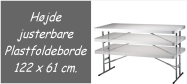 Klapborde Lifetime højde justerbar i 3 højder 122 x 61 cm. Lifetime giver 10 års garanti på dette klapbord.