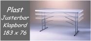 Klapborde Lifetime højde justerbar i 3 højder 183 x 76 cm. Lifetime giver 10 års garanti på dette klapbord.