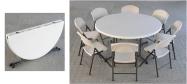 Klapbord Ø153 cm. med klapstole fra Lifetime. Dette klapbord kan foldes på midten og har plads til 8 stole.