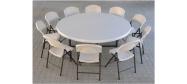 Klapbord Ø182 cm. med klapstole fra Lifetime. Dette klapbord har plads til 10 stole.