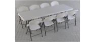 Klapbord 245 x 76 cm. med klapstole fra Lifetime