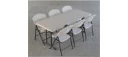 Klapbord 245 x 76 cm. med klapstole fra Lifetime. Dette klapbord kan foldes på midten.