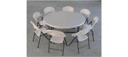 Klapbord Ø153 cm. med klapstole fra Lifetime. Dette klapbord har plads til 8 stole.